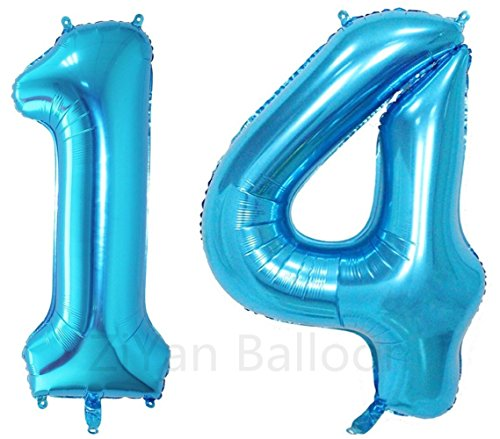 ZiYan 40 Inch Giant 14th Blue Number Balloons,Birthday/Party balloons]()