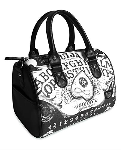 Liquorbrand Liquor Brand Ouija Board II Occult Horror Goth Round Purse Handbag, Black, Medium
