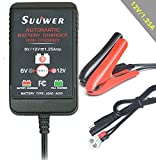 Motorcycle Battery Charger, 6v and 12v 1.25 Amp Automatic Trickle Charge Maintainer. For All Lead-Acid, Flooded or Sealed Maintenance Free Batteries.
