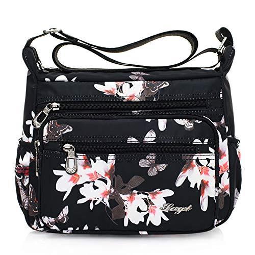 Womens Nylon Floral Shoulder Bag Crossbody Bag Messenger Bags Travel Handbags With Adjustable Strap Waterproof (magnolia)