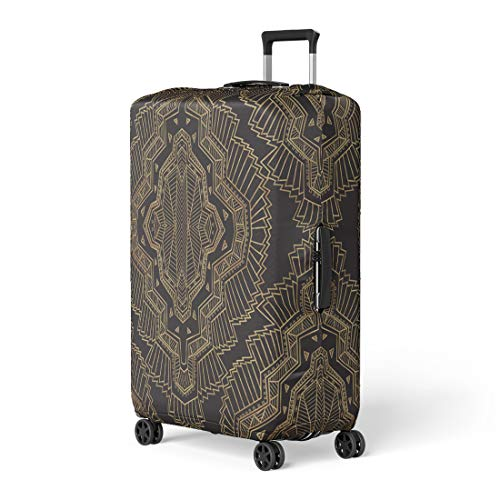 Pinbeam Luggage Cover Geometrical Abstract Pattern From Gold and Black Rhombus Travel Suitcase Cover Protector Baggage Case Fits 18-22 inches