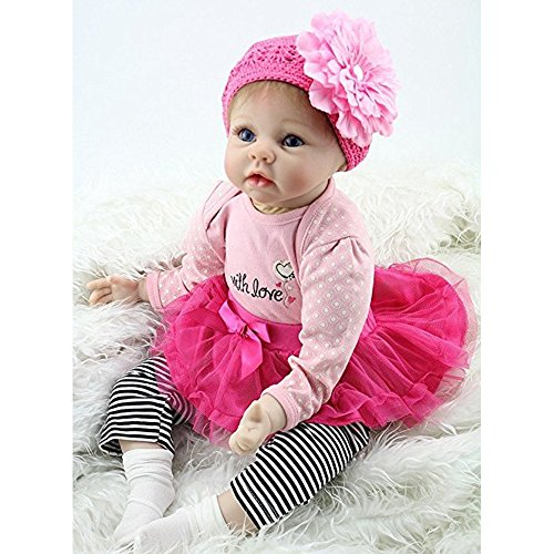Yesteria 22 Inches Silicone Reborn Baby Dolls Girl Look Real Rose Red Tutu Skirt with Striped Pants by Yesteria (Image #2)