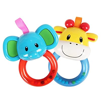 Deerbb 2 Pieces Baby Toy Rattle Newborn Rattle Baby Puzzle Elephant Calf Animal Hand Vocal Rattle Toy for Crib : Baby
