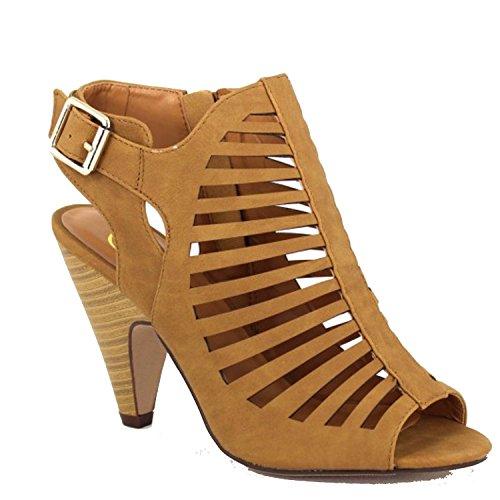 SODA Shaky-s Women's Sexy Strappy Peep Toe Slingback Buckle Chunky Heel Sandal (7 B(M) US, Tan) - Peep Toe Buckle Sandals