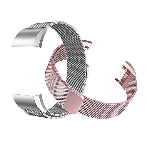 Fitbit Charge 2 Bands (2-Pack), Tecson Stainless Steel Milanese Loop Replacement Bracelet Strap with Unique Magnet Lock for Fitbit Charge 2,Rose Gold, Rose Pink, Silver (Rose Pink & Silver) (Style Rose Traditional)