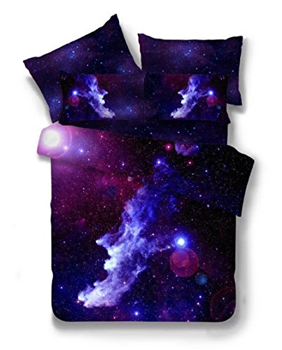 2 PIECE Galaxy Bedding Set Oil Print Duvet Cover Set Kids Bedding for Boys and Girls(Twin,12) (Twin Bed Setting For Girls)