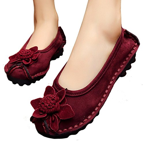 Women Causal Suede Thin Shoes Gommino red 38 wine f6fEqOBnw
