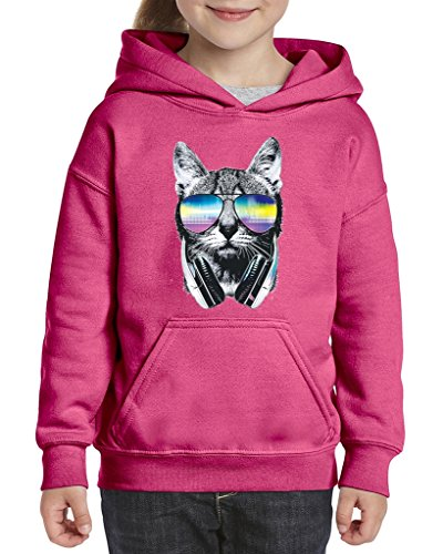 Headphones and Sunglasses Unisex Hoodie For Girls and Boys Youth Sweatshirt Medium Azalea Pink (Bridal Shower Sweatshirts)
