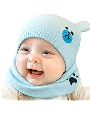 New Bear Baby Cap Cute Winter Girls Boys Woolen Beanie Hats and Scarf Set Circle Loop Infinity Scarf (Blue/Red...