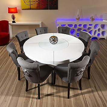 Groß Rund Weiß Hochglanz Esstisch Mit 8 Stühlen Niedrig Grau