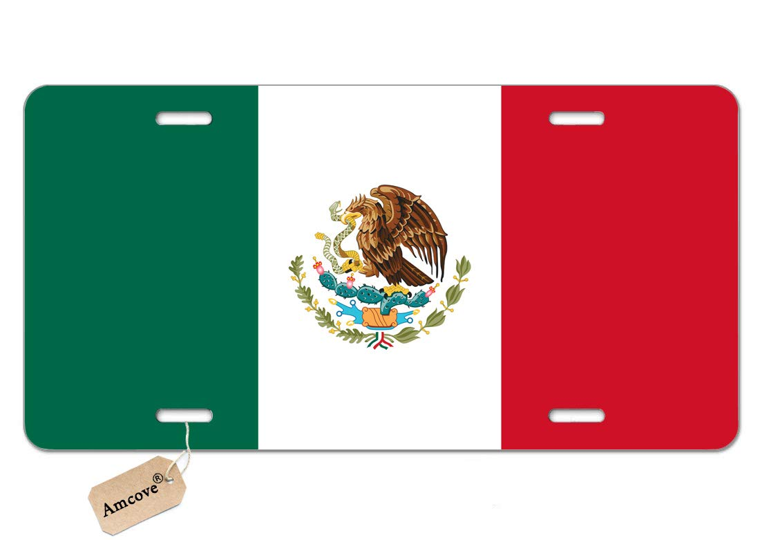 Amcove License Plates Mexico Flag Decorative Car Front License Plate,Vanity Tag,Metal Car Plate,Aluminum Novelty License Plate for Men//Women//Boy//Girls Car,6 X 12 Inch