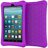 eTopxizu Case for All-New Amazon Fire 7 Tablet, Kids Friendly Light Weight Anti Slip Shock Proof Protective Soft Silicone Back Cover Case for New Fire 7 Tablet (7th Generation, 2017 Release), Purple