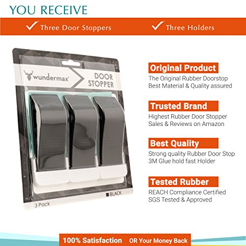 Wundermax Decorative Door Stopper with Free Bonus Holders, Door Stop Works on All Floor Surfaces, Premium Rubber Door Stops, The Original (3 Pack, Black) by Wundermax (Image #1)