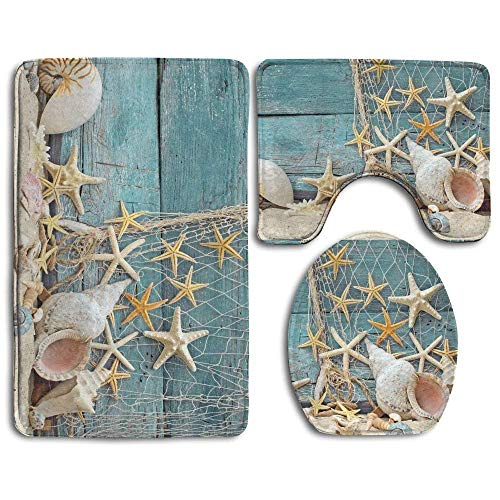 Bath Mat,3 Piece Bathroom Rug Set,Seashells and Starfish On The Boat Non Slip Toilet Seat Cover Set,Large Contour Mat,Lid Cover for Men/Women