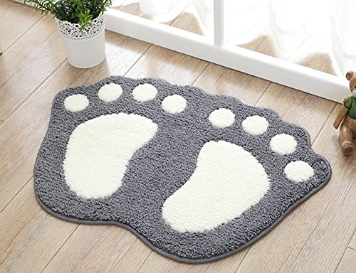 Microfiber Mini Bath Mat - TOPCHANCES Kids Bath Rug, Anti-Slip Water Absorption Cute Foot Print Bath Mats Shower Carpet Reversible Rubber Doormat Toilet Rug Bathroom Carpets,Microfiber Mini Soft Bath (18