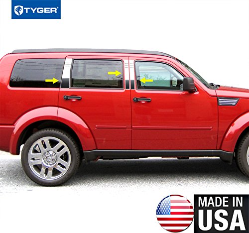 Made In USA! Works With 2008-2015 Dodge Nitro 6PC Stainless Steel Chrome Pillar Post Trim