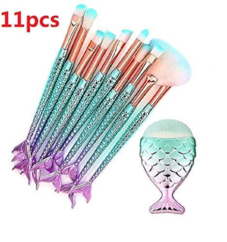 Makeup Brushes Set 11pcs 3D Mermaid Makeup Brush Cosmetic Brushes Eyeshadow Eyeliner Blush Brush (Girls Makeup Brush Set)