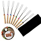 dibikou Marshmallow Roasting Sticks, Set of 8 Telescoping Hot Dog Roasting Sticks with Wooden Handle, Travel Canvas Pouch for Campfire Firepit and Sausage BBQ, 32 Inch
