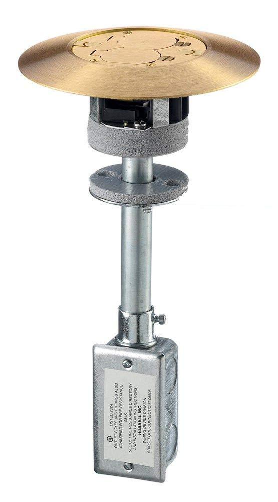 Hubbell Wiring Systems PT7FSDBRS2A Brass Finish 1 Piece Unit Fire-Rated Poke-Through Duplex Flush Floor Fitting, 7'' Diameter x 13.24'' Length, 3'' Core Hole