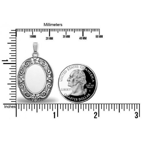 Sterling Silver Oval ''Antique'' Picture Locket - 1 1/2 Inches Wide X 2 Inches Tall in Sterling Silver