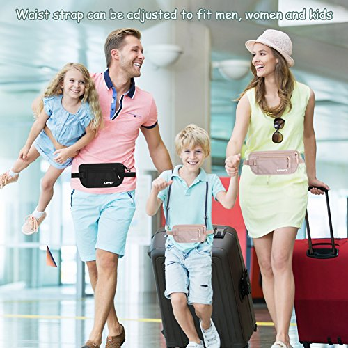 Travel Money Belt RFID Blocking Waist Wallet Waterproof Hidden Stash for Men Women, Under Clothes Passport Holder with 10 Credit Card Sleeves, Black by LANNEY (Image #6)