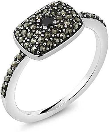 925 Sterling Silver Vintage Black Marcasite Women's Ring With Black Diamond Accent (Available in size 5, 6, 7, 8, 9)