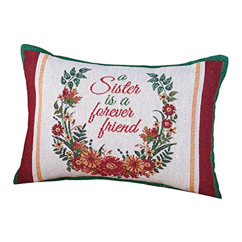 Pillow Throw Sister (Collections Etc Sisters Floral Tapestry Throw Pillow, Gifts for Sister Home Décor Accent, 12 x 8 inches)