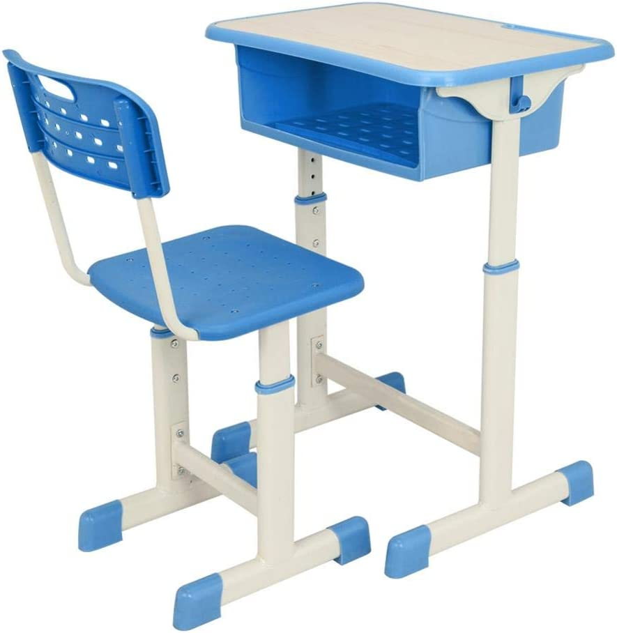Rinme Height Adjustable Kids Desk Boys Study Table Blue Childrens School Desk Set with Chair