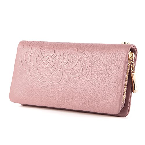 Kattee Soft Cowhide Leather Wallet Ladies Flower-embossed Clutch (Pink) ()