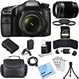 Sony ILCA68K/B a68 A-Mount Digital Camera 18-55mm + 55-200mm Lens Bundle includes ILCA68/B Camera, 18-55mm + 55-200mm Zoom Lenses, 55mm Filter Kit, 64GB SDXC Memory Card, Beach Camera Cloth and More!