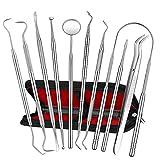 Dental Tools, ElleSye 10 PACK Stainless Steel Dental Pick Tongue Scraper, Dental Hygiene Kit Set, Teeth Tools Plaque Tartar Dental Scaler Tweezers Mouth Mirror for Personal & Pet Oral Care Use