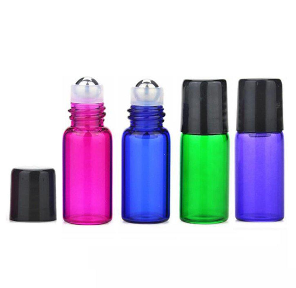 con apribottiglie e 2/pz contagocce Multicolor roller bottiglie 50/pz 3/ml Glass roll on bottiglie bottiglie di oli essenziali profumo campione metal roller flaconcini bottiglie