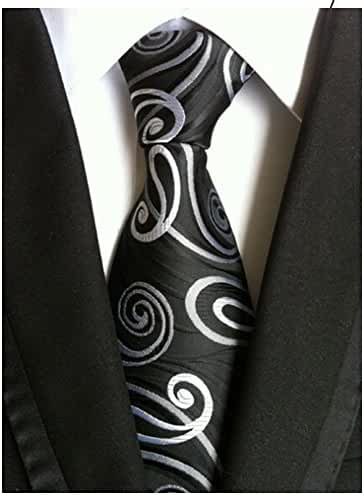 Allbebe Men's Classic Black Jacquard Woven Silk Tie Microfiber Formal Necktie