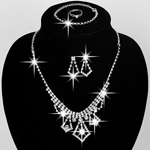 Sunshinesmile Bridal Wedding Fashion Jewelry Set Crystal Rhinestones Earrings +Bracelet + (Earrings And Bracelet Set)