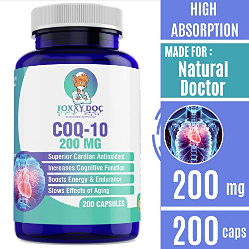 CoQ10 - Co-Enzyme Q10-200 mg - 200 Caps - High Absorption - Vegetable Capsules - Non-GMO - 6.5 Month Supply Heart & Cellular Energy by Foxxy - Energy Cellular