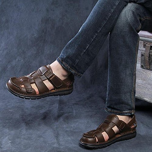 5 Hombre Cuero CJC para de Tamaño Playa EU42 T1 Sandalias T2 de Color UK8 Zapatos xRqwU0OBq