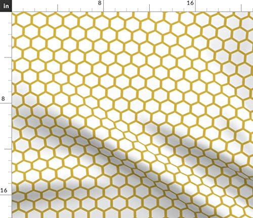 Spoonflower Honeycomb Fabric - Honeycomb Hexagon Geometric Mustard Gold Bees Honey Organic Kni by Mrshervi Printed on Linen Cotton Canvas Ultra Fabric by The Yard