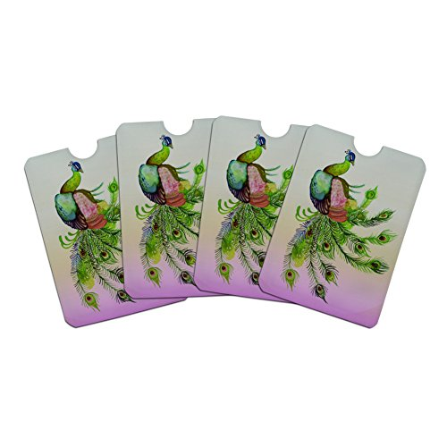 Watercolor Peacock Feathers Credit Card RFID Blocker Holder Protector Wallet Purse Sleeves Set of 4