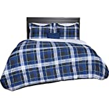 Beco Home Bedding Collection: 8 Piece Bed-in-a-Bag Comforter Set, Blue Plaid, Queen