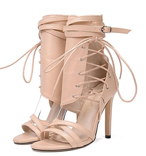 YOGLY Botte Bandage Talon Chaussures Sexy Été Beige à Escarpins Femme Talons Hauts Club 43EU Soiree 35EU rYW0Xr