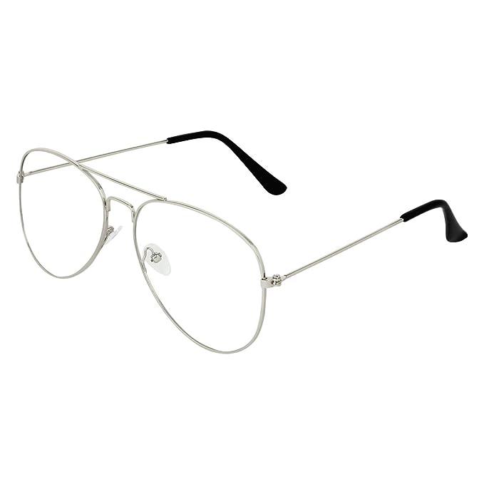 d2b5fe74d6 Abner Silver Aviator Unisex Eyewear Frame 324  Amazon.in  Clothing    Accessories