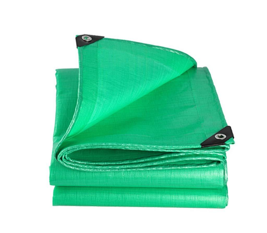 QQHWDT LYX® Regendichtes Tuch, im Freien verdicken regendichtes Tuch imprägniern Sonneschutzplane-Dreirad-LKW-Linoleum-Schlag-Überdachungs-Schatten-Isolierungs-Doppeltes Grün 4X6 Meter