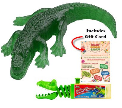 Giant Gummy Alligator Candy (3/4 Pounds!) PLUS One Kidsmania Gator Chomp Candy Lollipop