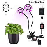 Cheap Upgrade Dual Head LED Grow Light,Plant Light with 3 mode timer(3H/6H/12H) Flexible 360 Degree Gooseneck, Max 12W Adjustable 5 Levels dimmable for Indoor Plants & Hydroponics Greenhouse By LAMASTON