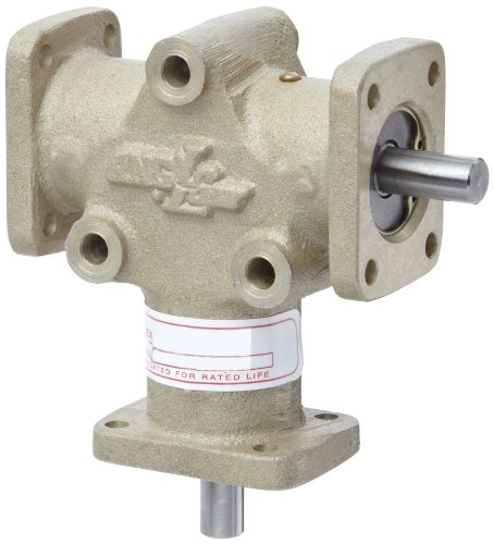 Single Gearbox (Andantex R3003M Anglgear Right Angle Bevel Gear Drive, Universal Mounting, Single Output Shaft, 3 Flanges, Metric, 8mm Shaft Diameter, 1:1 Ratio, .41 kW at 1750rpm)