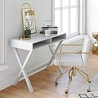 Nathan James 51002 Kalos Home Office Computer Desk or Makeup Vanity Table (White)