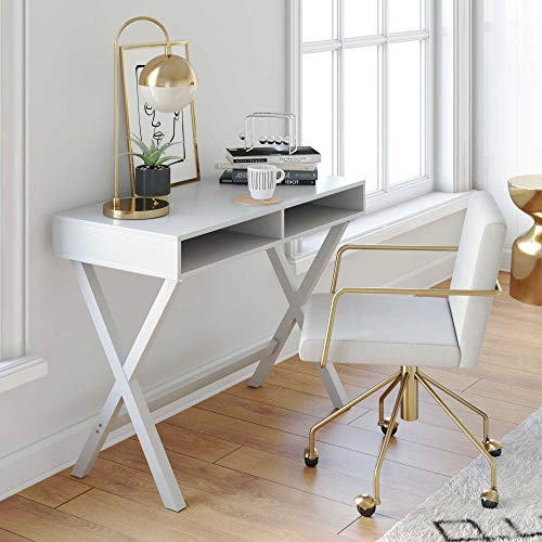 Nathan James 51002 Kalos Home Office Computer Desk or Makeup Vanity Table, White - Vanity Bedroom