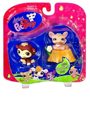 Littlest Pet Shop Exclusive Sportiest Pet Pairs Ape /& Mouse with Flower Hasbro Toys 65237