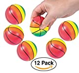 Basketball Foam Realistic Sport Stress Balls for Kids Party Favors goodie bags / giveaways, 12-Pack