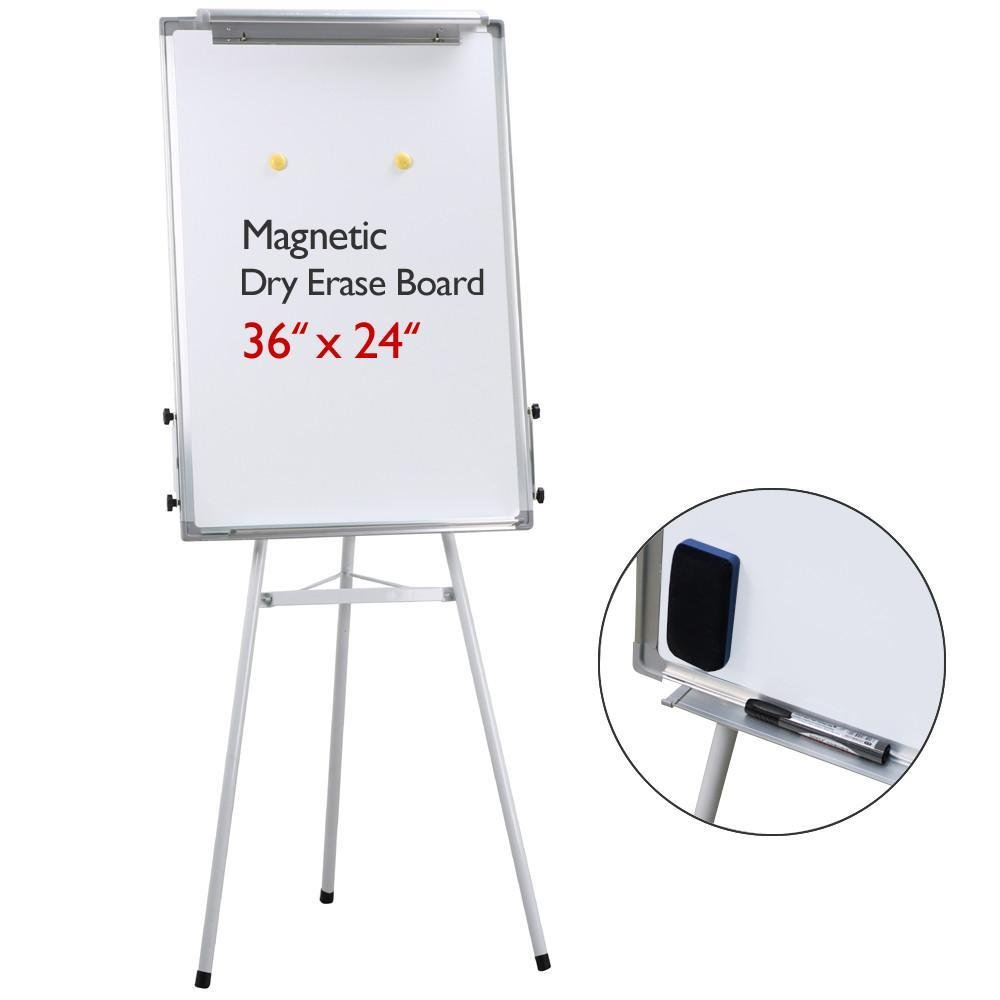 go2buy Telescopic Tripod Presentation Whiteboard Easel Display, White, Approx 24'' W x 36'' L